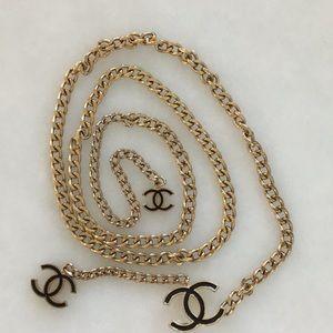 "Authentic 45"" gold color Chanel chain belt"